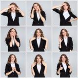 Le collage des portraites de la jeune femme avec des émotions heureuses Photographie stock libre de droits