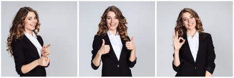 Le collage des portraites de la jeune femme avec des émotions heureuses Photos libres de droits