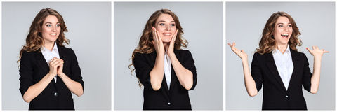 Le collage des portraites de la jeune femme avec des émotions heureuses Photographie stock
