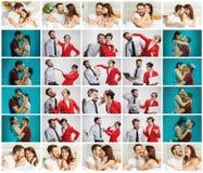 Le collage environ lifestile du jeunes homme d'affaires et femme d'affaires avec différentes émotions Photos libres de droits