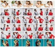 Le collage environ lifestile du jeunes homme d'affaires et femme d'affaires avec différentes émotions Images libres de droits