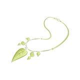 Le collane realistiche con i pendenti sotto forma di lumaca sguscia, foglie, perle Accessorio femminile grazioso Il verde Fotografie Stock