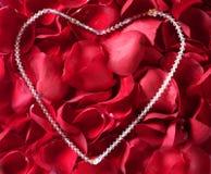 le collier de bijou au-dessus du rouge de pétales s'est levé Photographie stock libre de droits