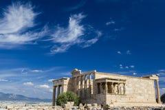 Le colonne del Erechtheion, parte oft l'acropoli di Atene, Grecia Fotografia Stock Libera da Diritti
