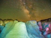 Le Colorado a peint des mines contre des cieux nocturnes images libres de droits