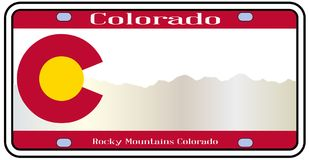 Le Colorado Rocky Mountain Plate illustration de vecteur
