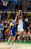 Le combat pour les femmes 2009-2010 de ball.EuroLeague. Photo stock