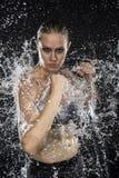 Le combattant femelle dans l'eau éclabousse sembler féroce images stock