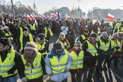 Le Comité polonais pour la défense de la démonstration de démocratie dans W image stock