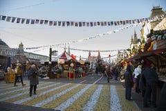 Le commerce équitable de Noël rame sur la place rouge à Moscou Images stock