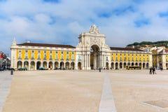 Le commerce Praca carré font Comercio à Lisbonne Photo libre de droits