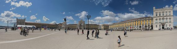 Le commerce Praca carré font Comercio Lisbonne, Portugal image libre de droits