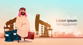 Le commerce Pumpjack Rig Platform Black Wealth Concept de Rich Arab Business Man Oil illustration de vecteur