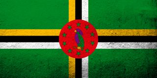 Le Commonwealth du drapeau de Dominica National Fond grunge illustration stock