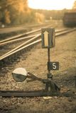 Le commutateur ferroviaire, se ferment vers le haut du wiev Photo libre de droits