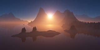 Le compartiment au coucher du soleil Photographie stock
