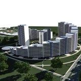 Le complexe résidentiel 3D rendent Photo libre de droits
