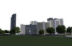 Le complexe résidentiel 3D rendent Photos libres de droits