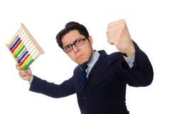 Le comptable fâché avec l'abaque d'isolement sur le blanc Photos libres de droits