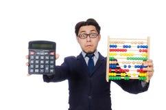 Le comptable fâché avec l'abaque d'isolement sur le blanc Photo stock
