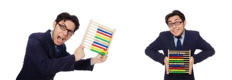 Le comptable fâché avec l'abaque sur le blanc Images stock