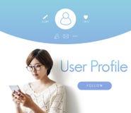 Le compte de profil d'utilisateur suivent le concept photos libres de droits