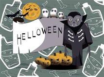 Le compte Dracula célèbre Halloween avec des fantômes illustration libre de droits