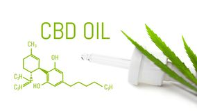 Le compte-gouttes avec le cannabis d'huile de CBD a isolé feuille verte de chanvre Concept médical de marijuana photos stock