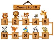 Le compte numéro un à dix avec des animaux illustration de vecteur