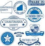 Le comté de Chautauqua, New York Ensemble de timbres et de signes Images stock