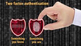 Le concept à deux facteurs de boucliers d'authentification sont et savent photographie stock libre de droits