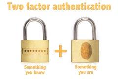 Le concept à deux facteurs de cadenas d'authentification savent et sont photo stock