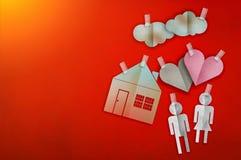 Le concept à la maison doux à la maison avec le papier a coupé le style plat jpg Photographie stock