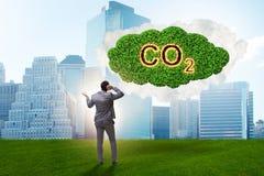 Le concept écologique des émissions de gaz participant à l'effet de serre image stock