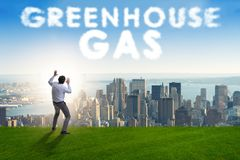 Le concept écologique des émissions de gaz participant à l'effet de serre photo libre de droits