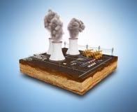 Le concept écologiquement des problèmes les centrales thermiques illustration stock