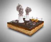 Le concept écologiquement des problèmes les centrales thermiques illustration libre de droits
