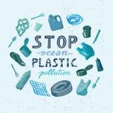 Le concept circulaire de la catastrophe écologique des déchets en mer illustration de vecteur