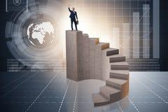 Le concept d'affaires avec des gens d'affaires sur l'escalier Photo libre de droits