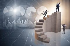 Le concept d'affaires avec des gens d'affaires sur l'escalier Image libre de droits