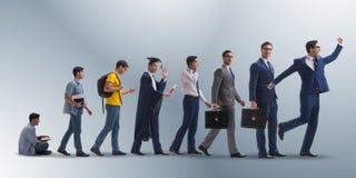Le concept d'affaires avec l'homme progressant par des étapes Images libres de droits