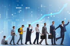 Le concept d'affaires avec l'homme progressant par des étapes Photo libre de droits