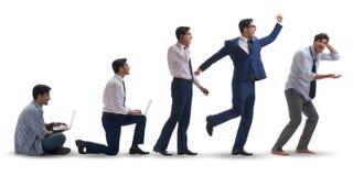 Le concept d'affaires avec l'homme progressant par des étapes Photos libres de droits