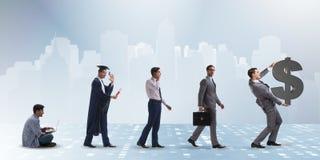 Le concept d'affaires avec l'homme progressant par des étapes Image libre de droits