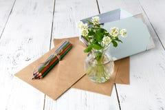 Le concept d'art d'été, couleur crayonne avec le tréfle blanc image stock