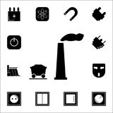 Le concept d'exploitation avec des machines d'industrie lourde et le charbon troquent l'icône Ensemble d'icônes d'énergie Icônes  illustration de vecteur