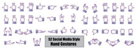 Le concept d'illustration de 52 médias sociaux différents dénomment des gestes de main Image libre de droits