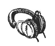 Le concept d'illustration de vecteur des écouteurs remettent noient l'illustration sur le fond blanc illustration de vecteur