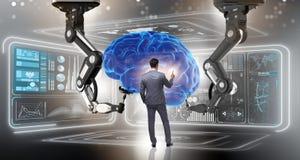 Le concept d'intelligence artificielle avec l'homme d'affaires illustration stock