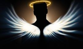 Le concept d'investisseur d'ange avec l'homme d'affaires avec des ailes illustration de vecteur